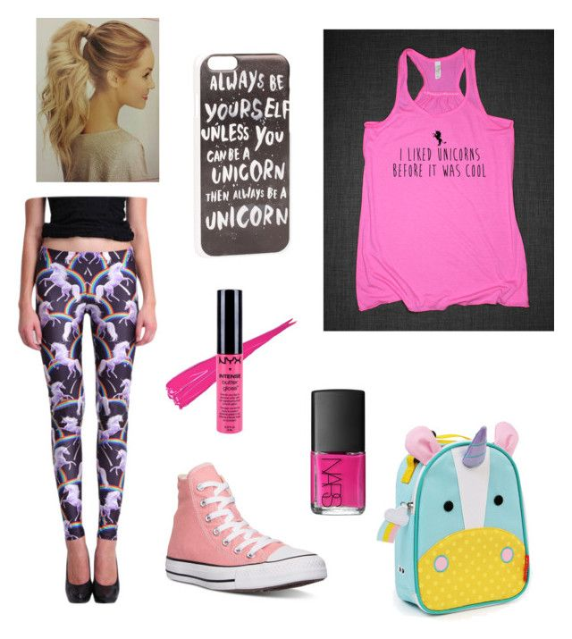 """Unicorns"" by mary-mara on Polyvore featuring Skip Hop, JFR, Converse, NARS Cosmetics, NYX, women's clothing, women's fashion, women, female and woman"