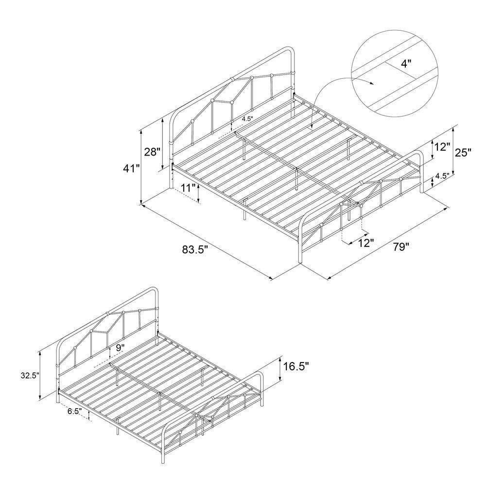 Novogratz Francis Farmhouse Metal Bed With Images Metal Platform Bed Metal Beds Platform Bed
