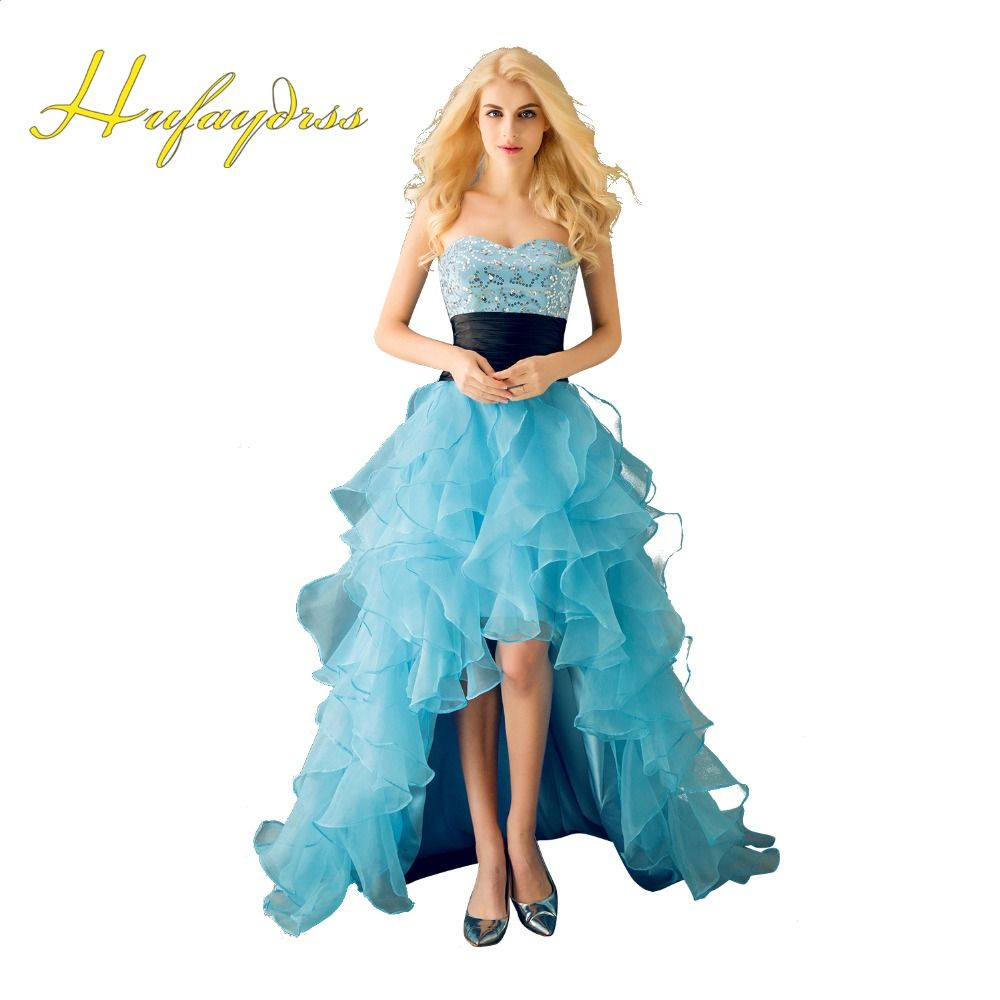 High Low Prom Dresses 2017 Sweetheart Light Blue Sequins Cascading ...