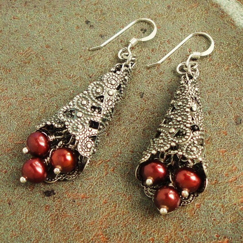 Cranberry Red Pearl Earrings Sterling Silver Earwires Handmade Jewelry