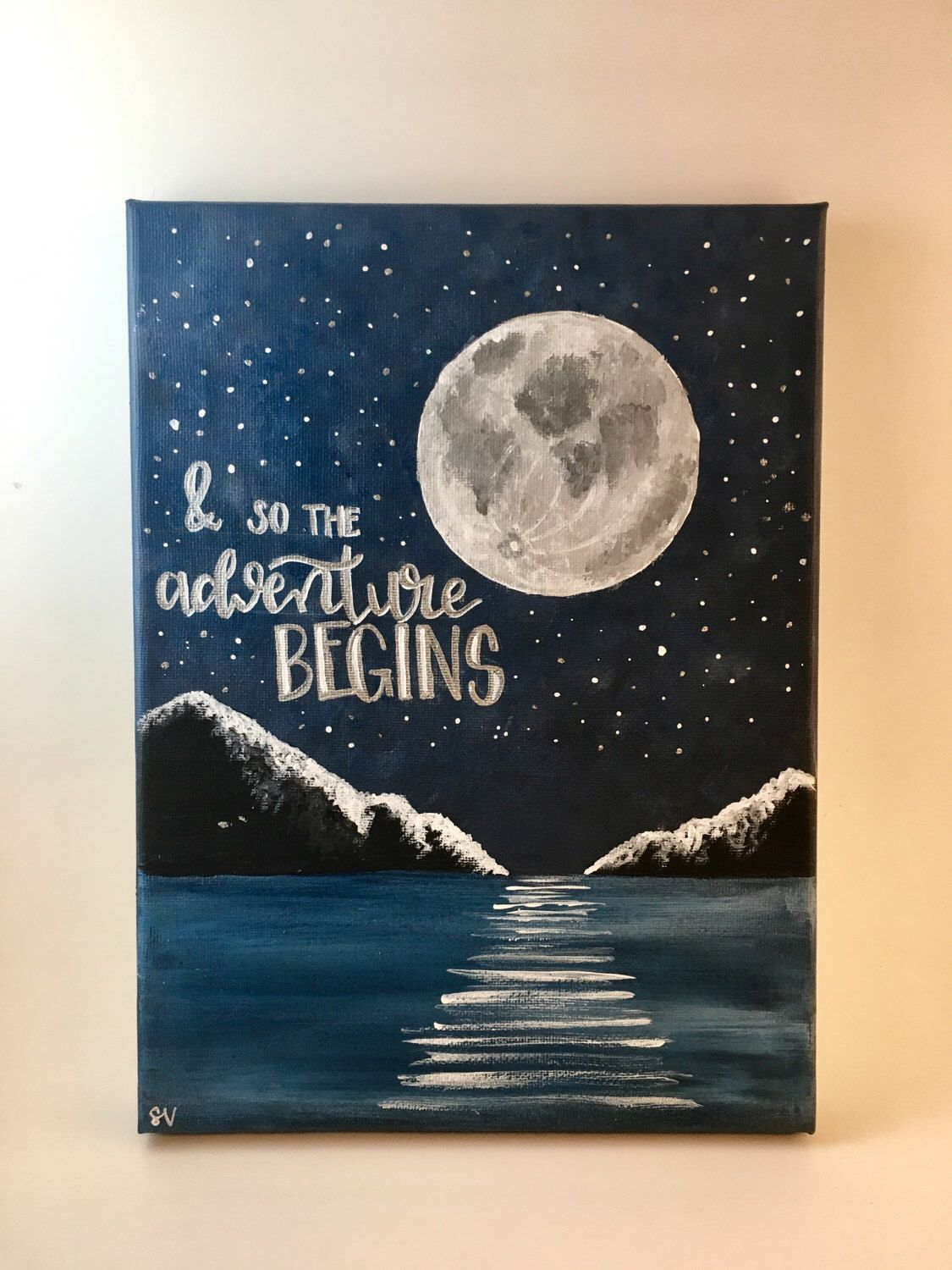 Quote Paintings And So The Adventure Begins Handlettered Canvas Quote Painting