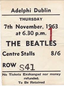 Mega rare 1963 Dublin Ireland Ticket Stub for the Beatles only Concert in the South Of Ireland (2 concerts in 1 day)