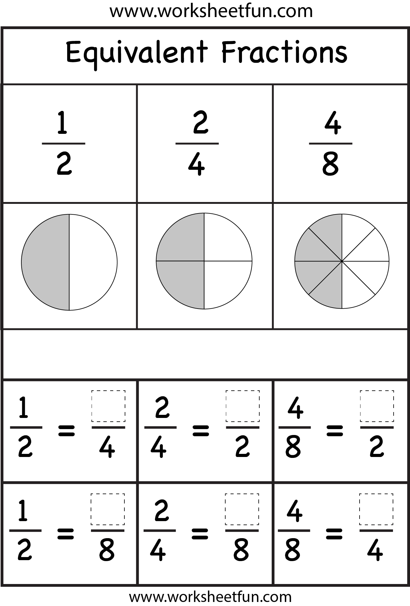 worksheet Equivalent Fractions Worksheet 3rd Grade equivalent fractions 2 worksheets homeschoolmath pinterest worksheets