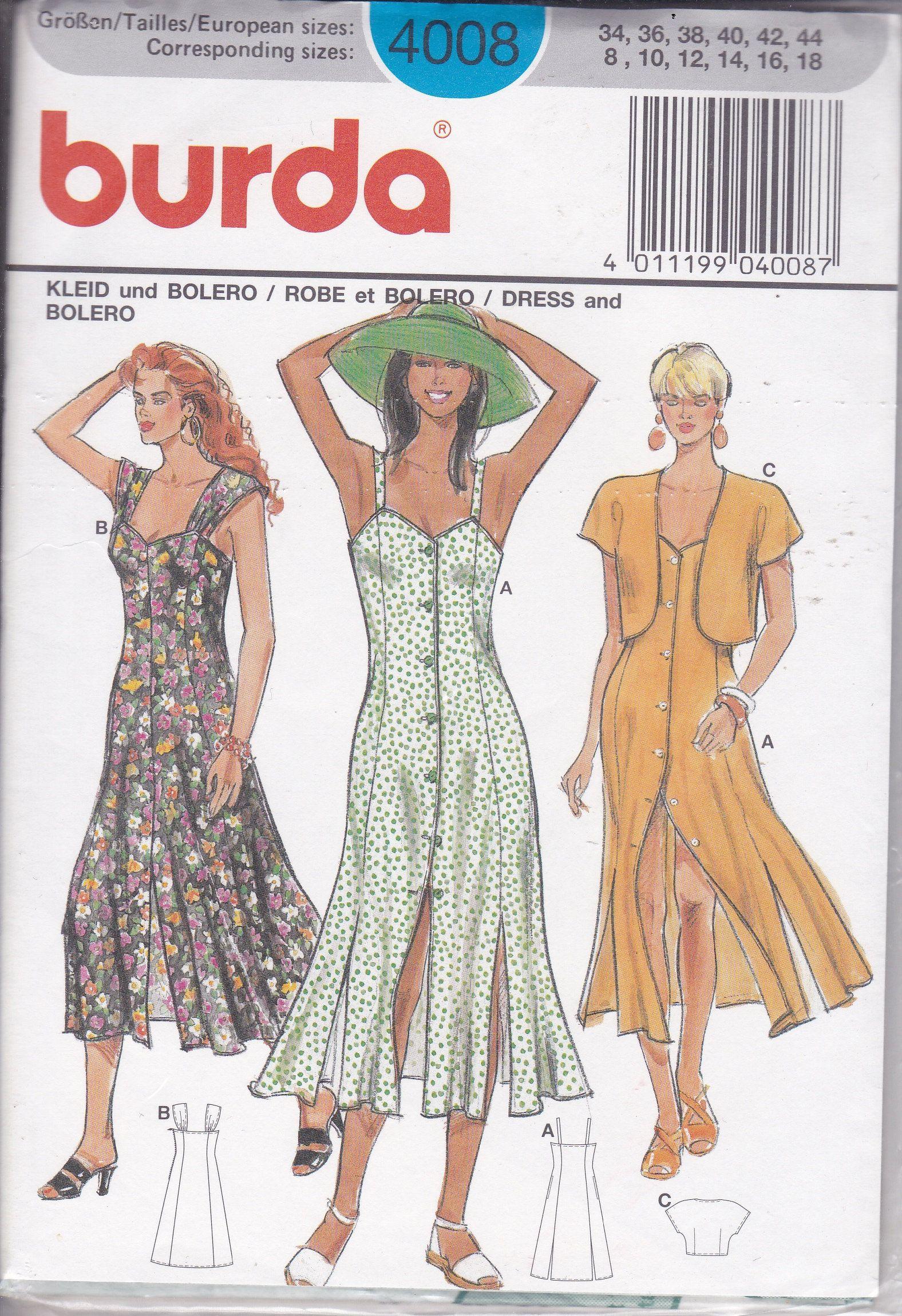 90s Sewing Pattern For Summer Dress Jacket Bolero Ff Uncut Burda Pattern 4008 Misses Size 8 18 Retro 1990s 90 S Women S Sewing Pattern Summer Dresses Plus Size Sewing Patterns Women S Sewing Pattern