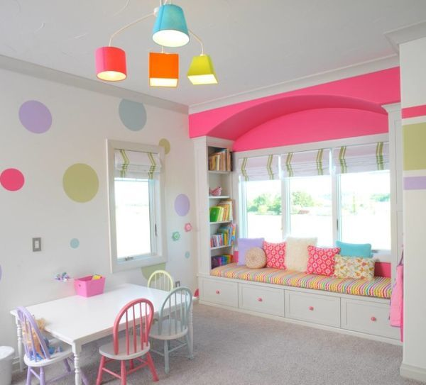 cool lighting goes along with the shades used in the girls playroom httpwwwdecoistcom2013 09 27kids playroom design ideas