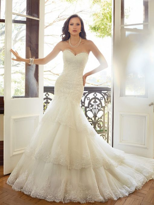 Sophia Tolli - Fit and flare wedding dress with dropped waist, chantilly inspired lace is the main focus of this misty tulle fit and flare gown. Final Sale