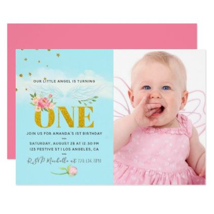 Our Little Angel 1st Birthday Baby Girl Party Invitation Birthday