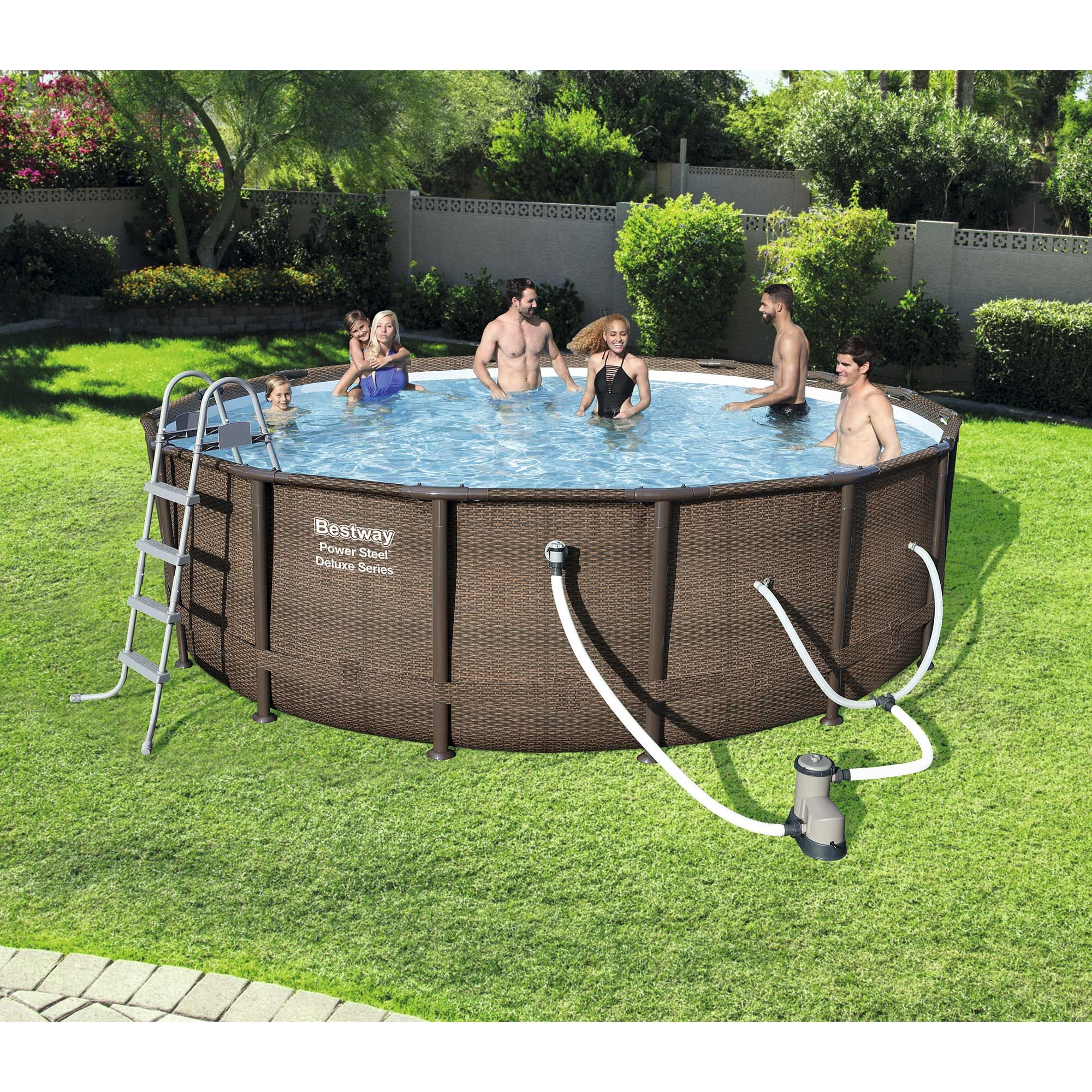 Bestway 16 X 48 Power Steel Frame Above Ground Swimming Pool Set With Pump Walmart Com In 2020 Above Ground Swimming Pools Swimming Pools Backyard Pool Landscaping