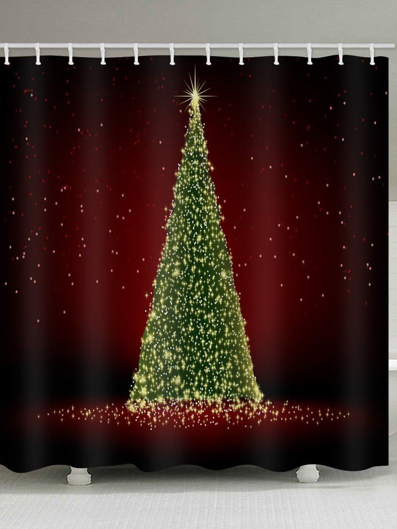 Lighting Christmas Tree Print Water Resistant Shower Curtain