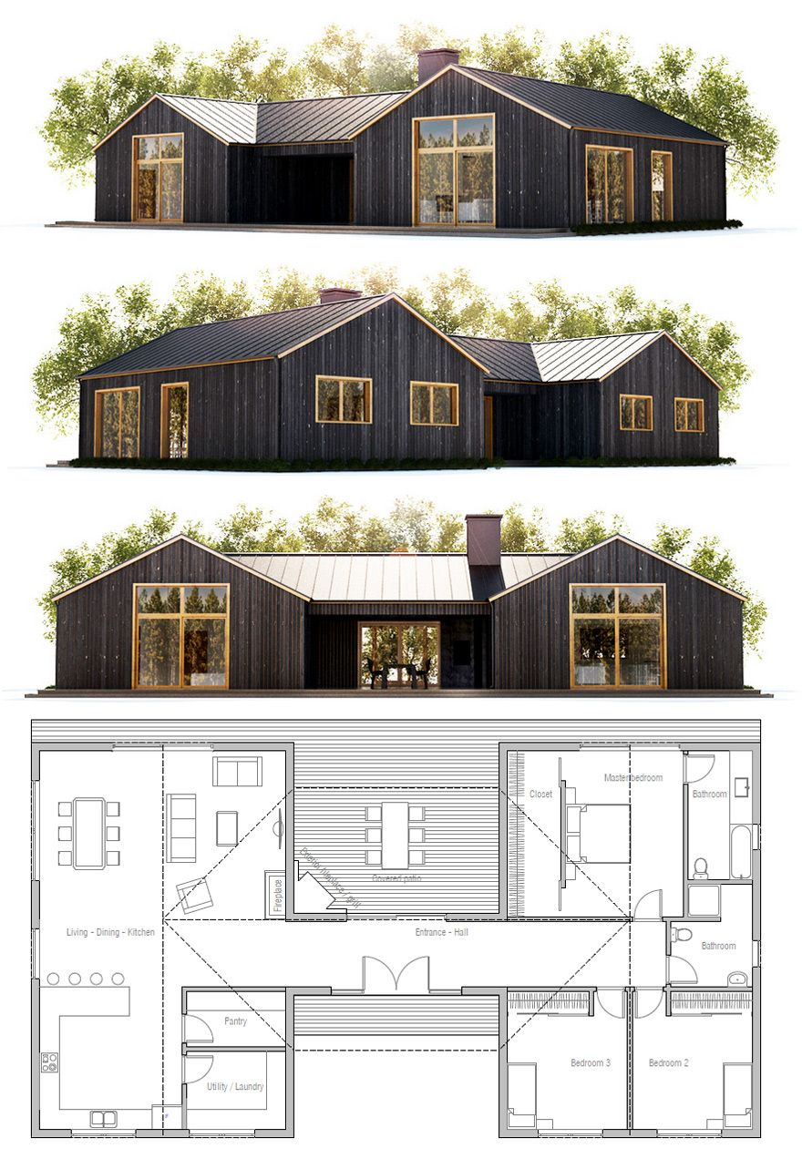 Small house plan house pinterest small house plans for Small pole barn house plans