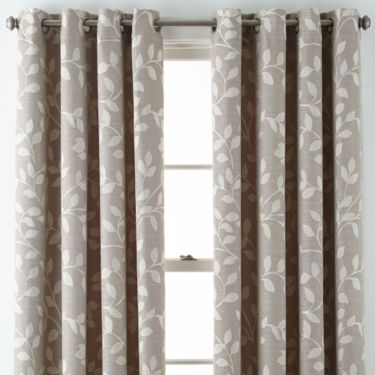 Jcp Jcpenney Home Quinn Leaf Grommet Top Curtain Panel