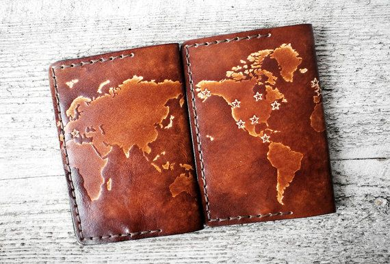 Personalized leather passport cover world map stars by exsect gift personalized passport cover genuine leather world map passport holder personalized travel gift passport case custom travel wallet gumiabroncs Images