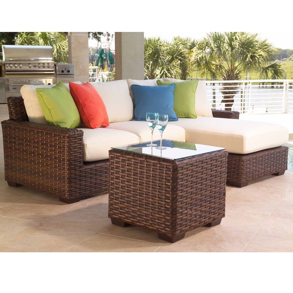 Lloyd Flanders Elements Large Wicker Sectional And Lounge Chairs