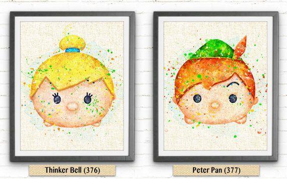 Mejores 57 Imágenes De Tsum Tsum En Pinterest: Tsum Tsum Disney Peter Pan Watercolor Art Burlap Print