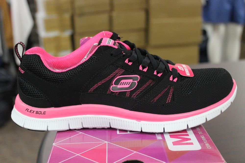 size 40 61ddc 59d63 Skechers Flex Appeal Spring Fever 11727 Black Hot Pink Memory Foam