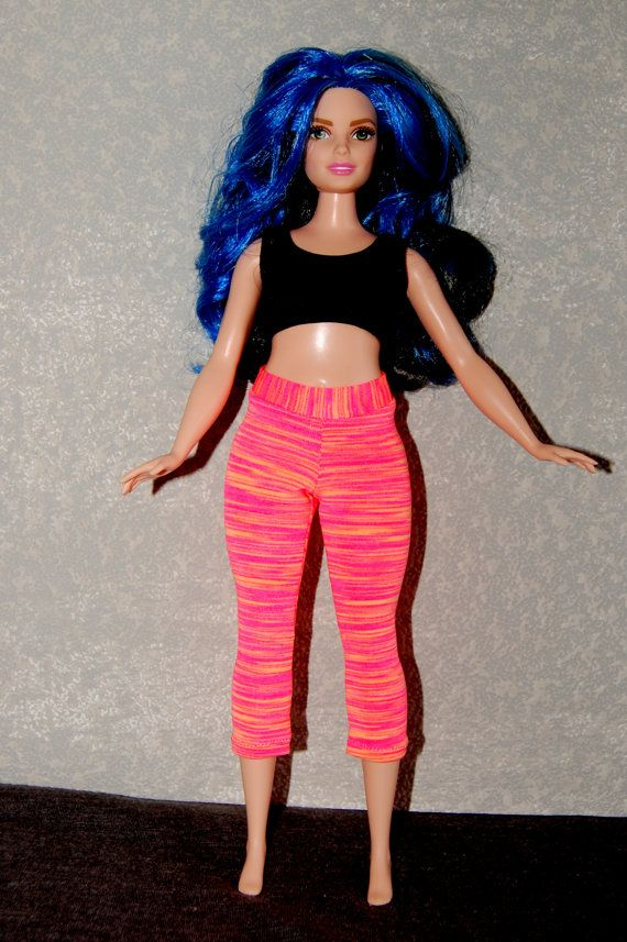 Sewing Pattern for Curvy Barbie Fashionista Doll Clothes by TKCT Yoga Pants Top