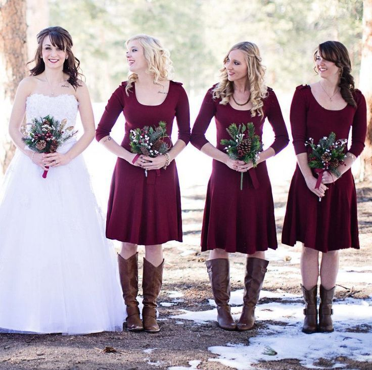 Red Bridesmaid Winter Dresses And Boots Pine Cone Bouquets