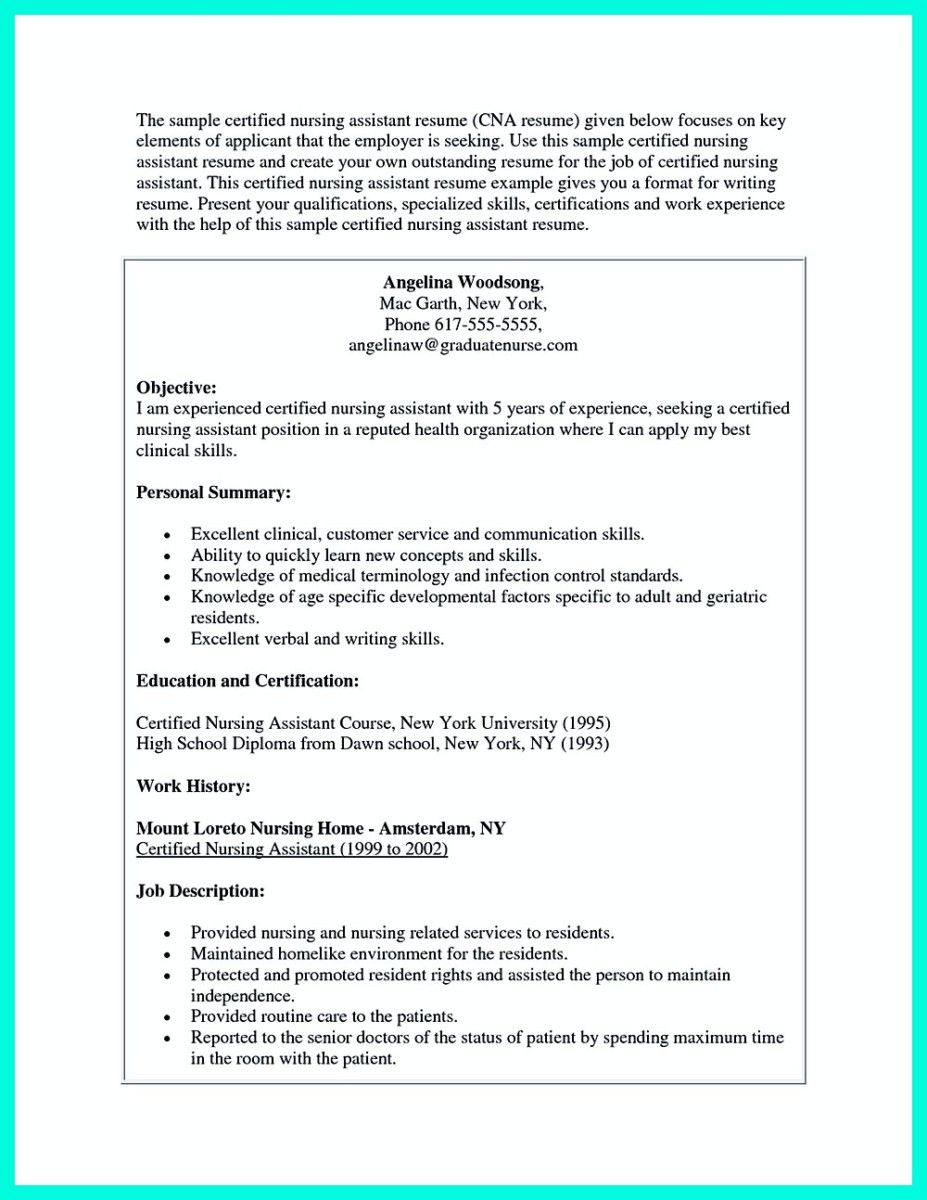 Nice Impress The Employer With Great Certified Nursing Assistant Resume,  Check More At Http:  Certified Nursing Assistant Resume Objective