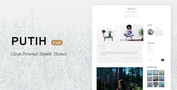 Download Free Putih | Clean Personal Tumblr Theme # blog