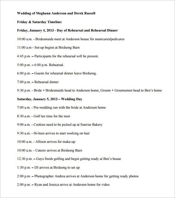 wedding timeline template planning reception