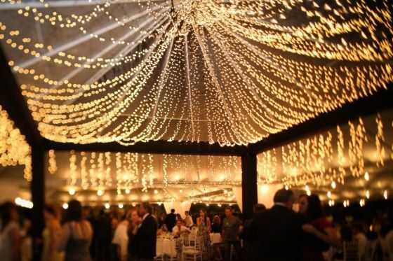 Beautiful! outdoor canopy of lights..... will look great with a farm house or barn on a warm summer or spring night or even in that chilly winter night to warm that night right up with the feel of the dim glowing twinkle decorative lights. Add a mug of hot cocoa as your guests and wedding party walk inside and it will be perfect!