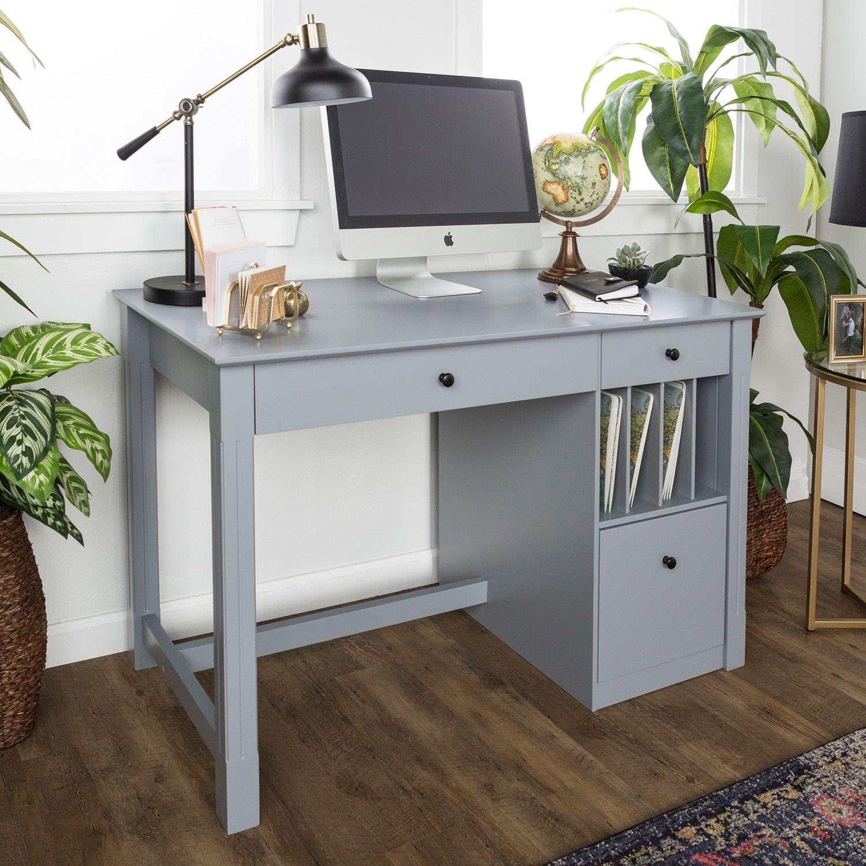 Gray Deluxe Wood Storage Computer Desk