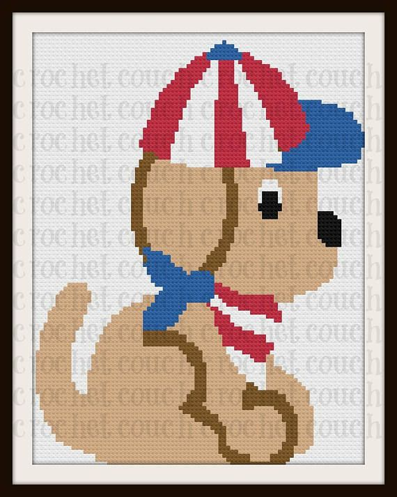 Patriotic Puppy Twin Afghan, C2C Crochet Pattern, Written