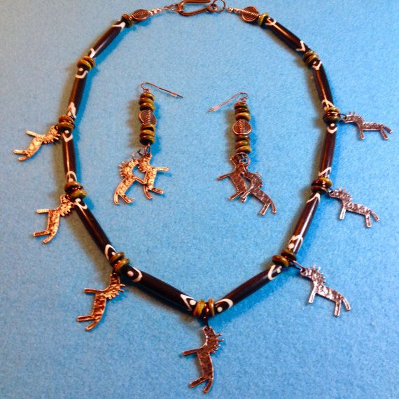 PRIMITIVE CAVE Copper HORSES  Chocolate Batik by PerfectBeadsbyTJ