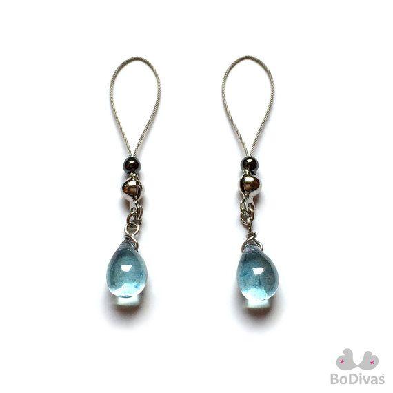 Nipple Jewelry Noose Water Blue Crystal Drop Finest by BoDivas