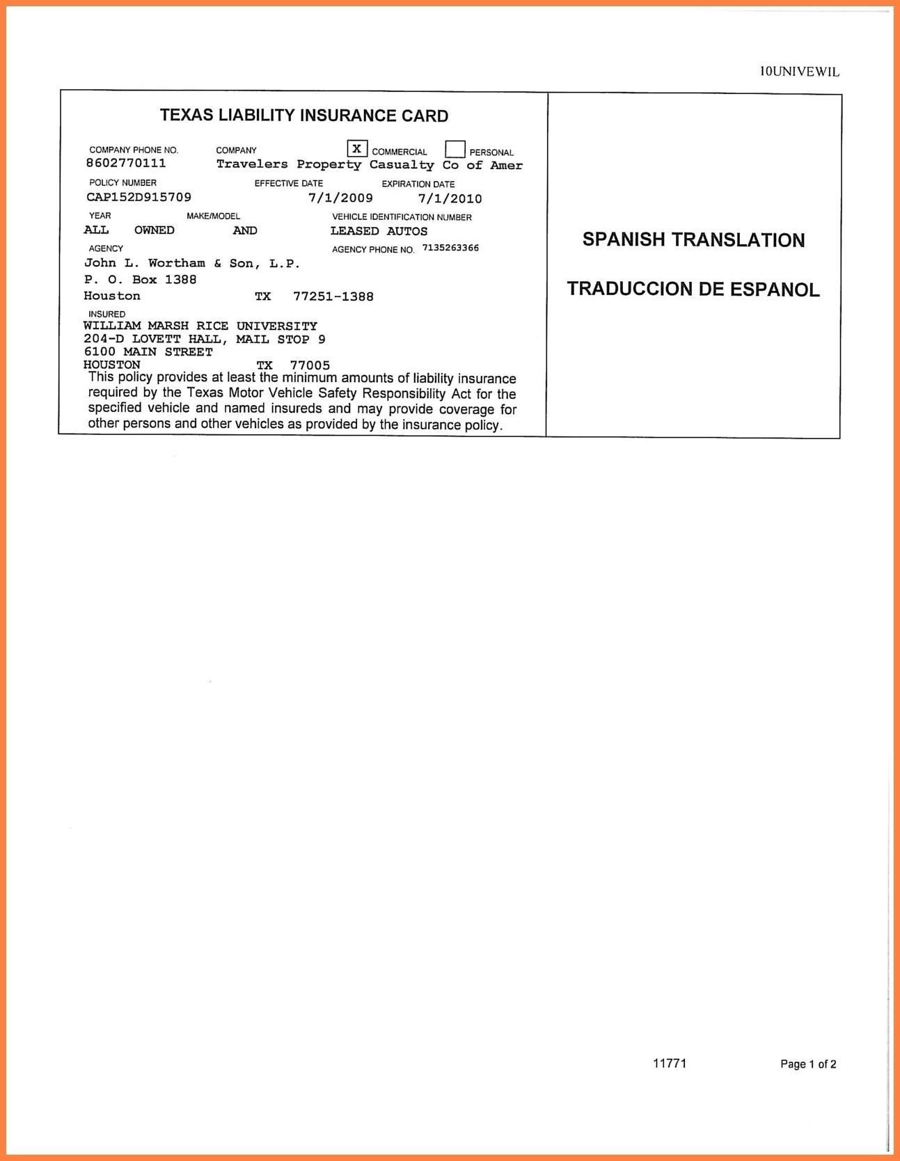 Car Insurance Card Template Free Auto Insurance Card Intended For