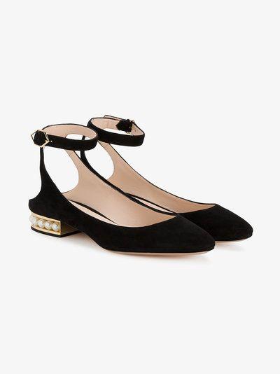 f3e4e8611 Black Suede Lola Pearl ballet pumps in 2019 | Loafers | Black ballet ...