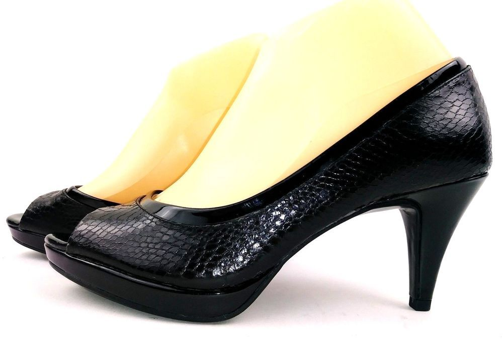 7f423282aca6 Bandolino Womens Heels Size 8 Black Snakeskin Print Open Toe Career Pumps   Bandolino  PumpsClassics