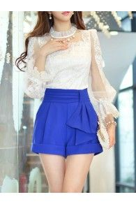 Sweet Balloon Sleeve Polyester Crew Neck Blouse