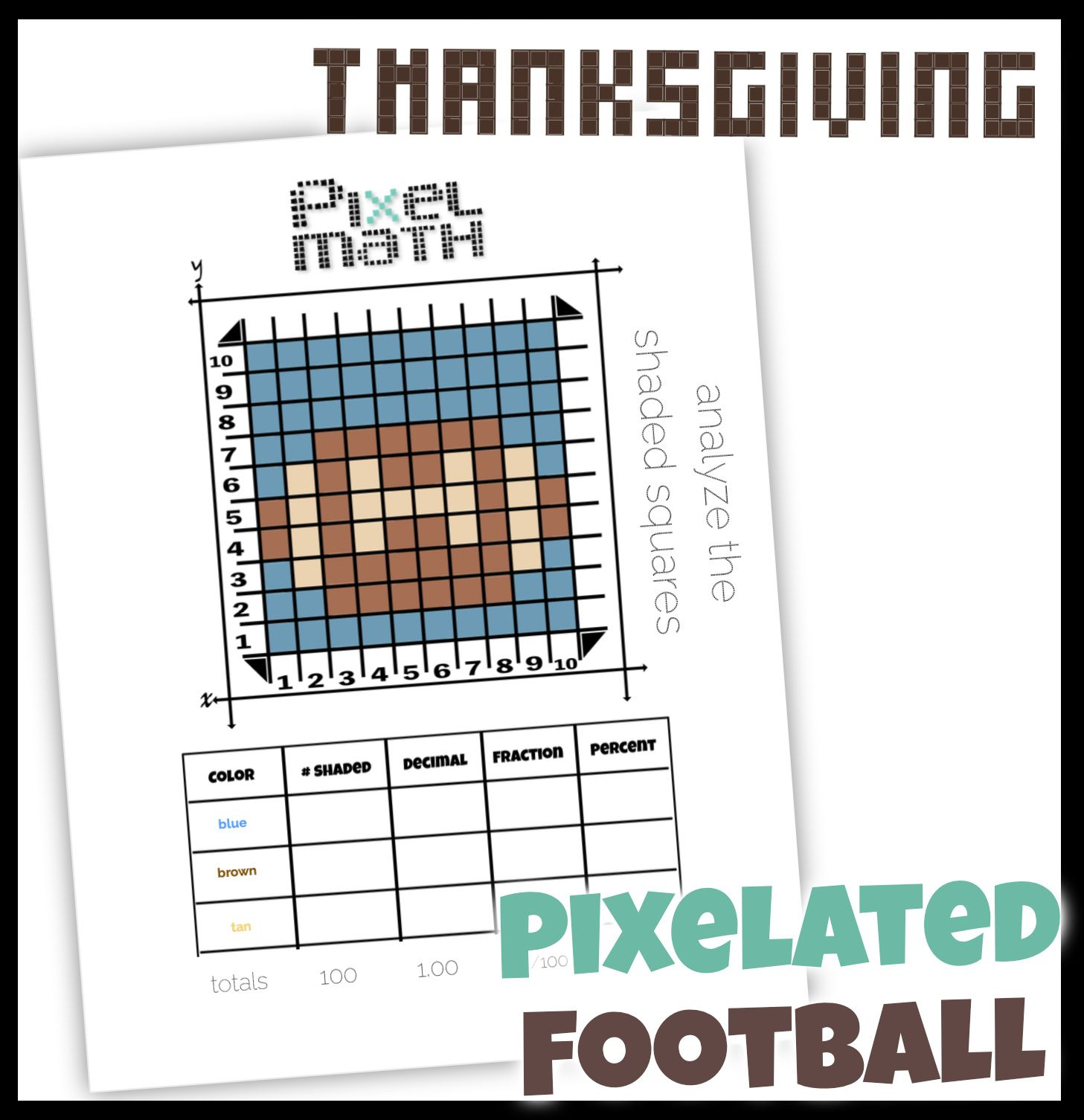 Football Pixel Art For Super Bowl Creative Way To Practice Decimal Fraction Percent Fractions Decimals Pixel [ 1506 x 1457 Pixel ]