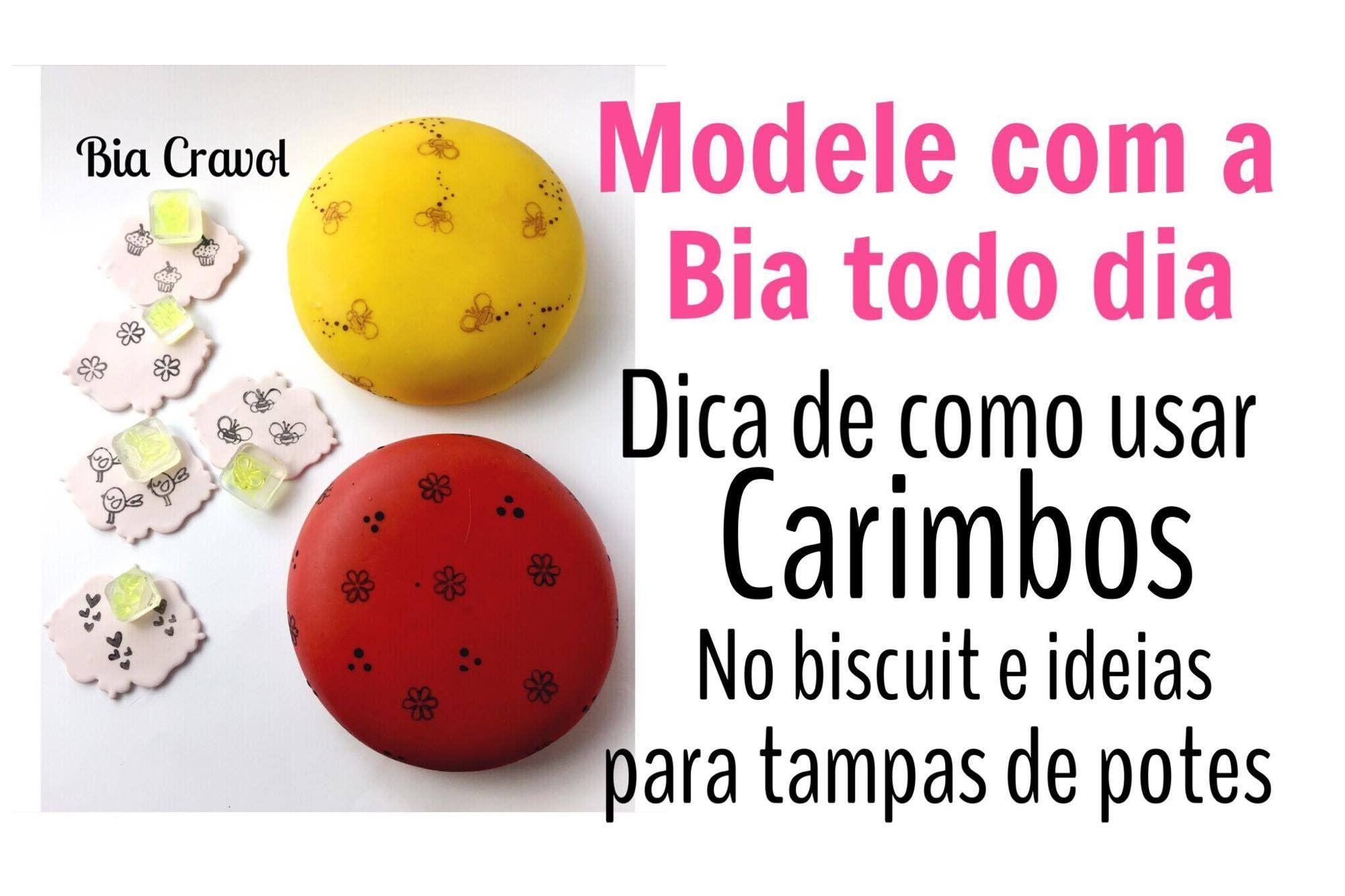 Carimbo no Biscuit + Decoração de tampa de Pote- Modele com a Bia Todo D...