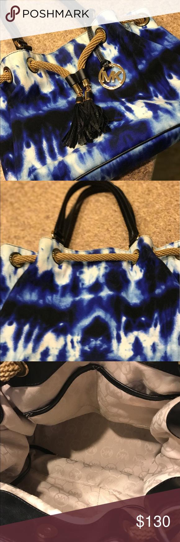 6acba057ce70 Michael Kors Rare MARINA Large Handbag ~ This is a Michael Kors Rare Blue  Tie-dye MARINA Large Gathered Tote Purse Handbag ~ Gently used smoke and  pet free ...