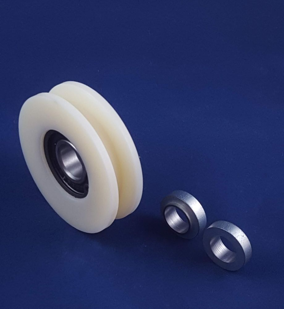 70x14mm Garage Door Nylon Cable Pulley Groove Bearing Idler Wheel Creamy White