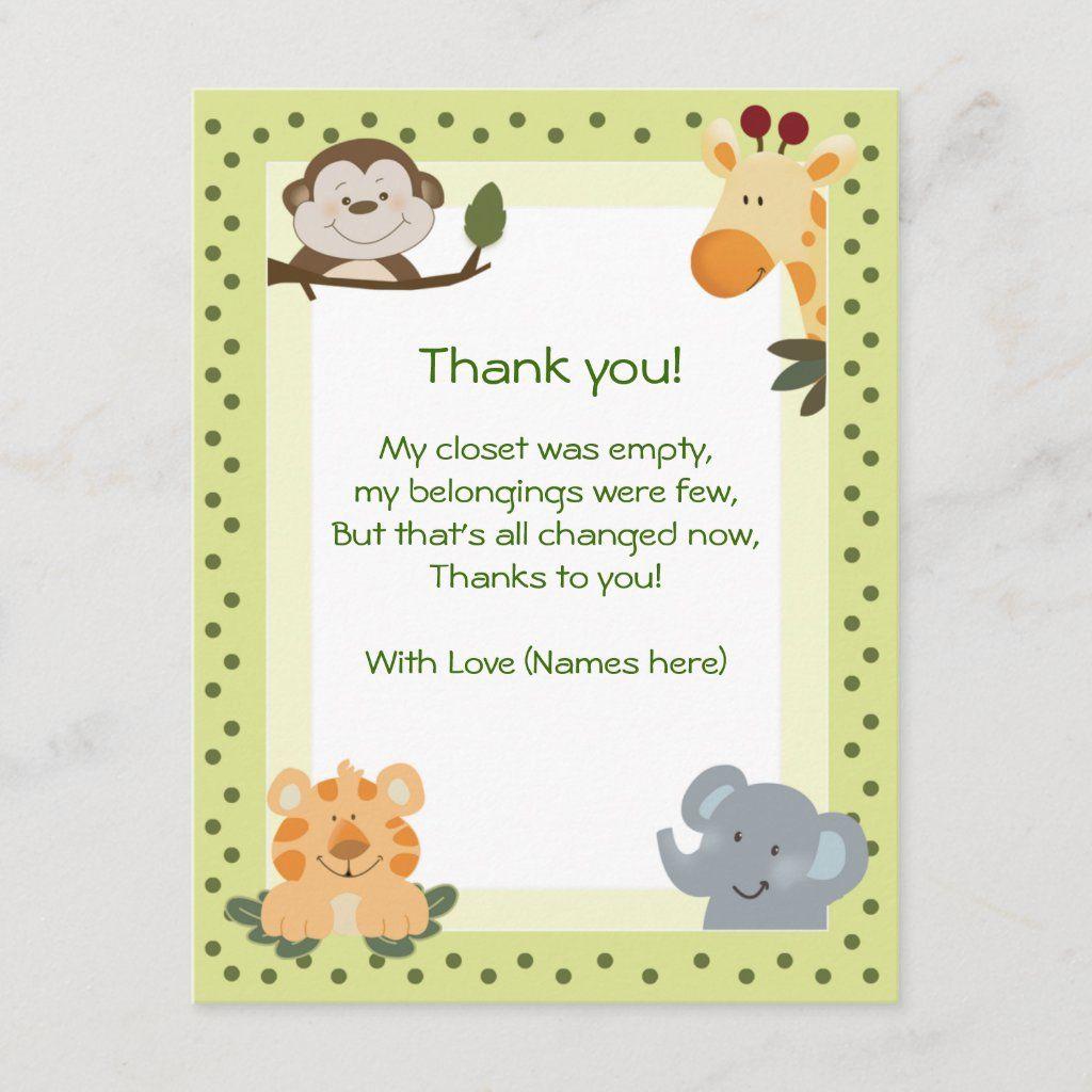 Jungle Safari Animals Baby Shower Thank you notes