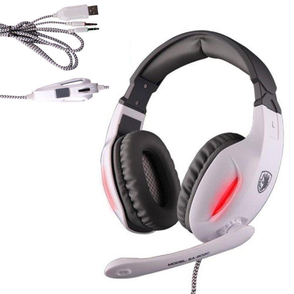 Sades Gaming Headset 35mm Wired Stereo Headphone Headband Led Light Razer Starcraft 2 Sling Bag Headphones