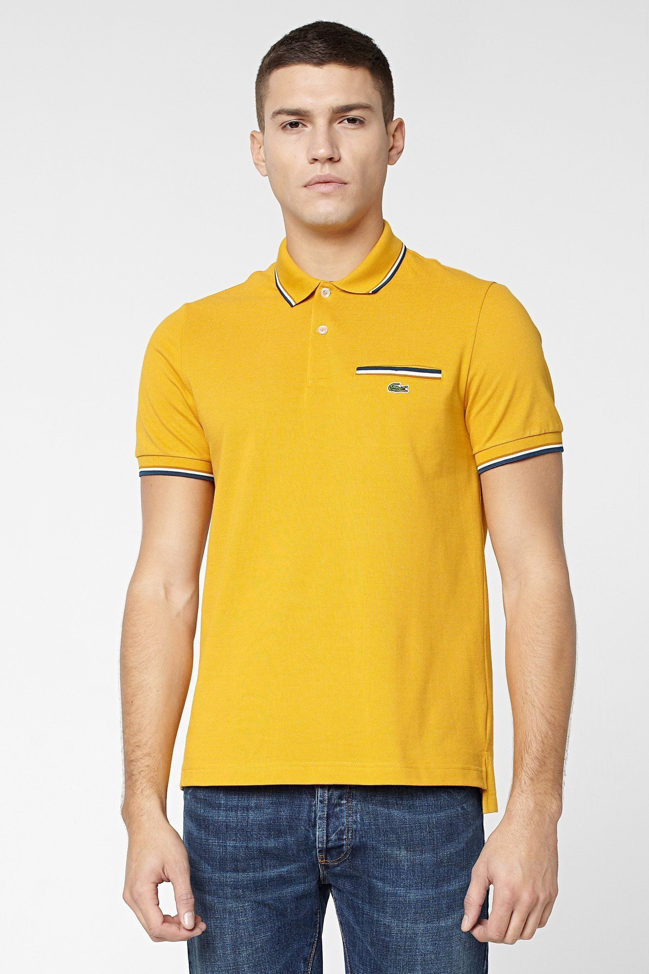 8f5acf840d486 Lacoste L!VE Short Sleeve Semi Fancy Tipped Pique Polo With Pocket   L!