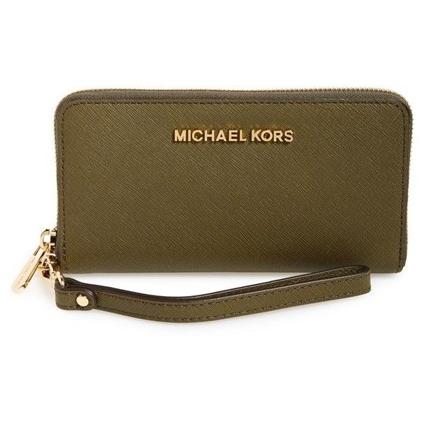 MICHAEL Michael Kors 'Large Jet Set' Saffiano Leather Phone Wristlet ($98) ❤ liked on Polyvore featuring olive