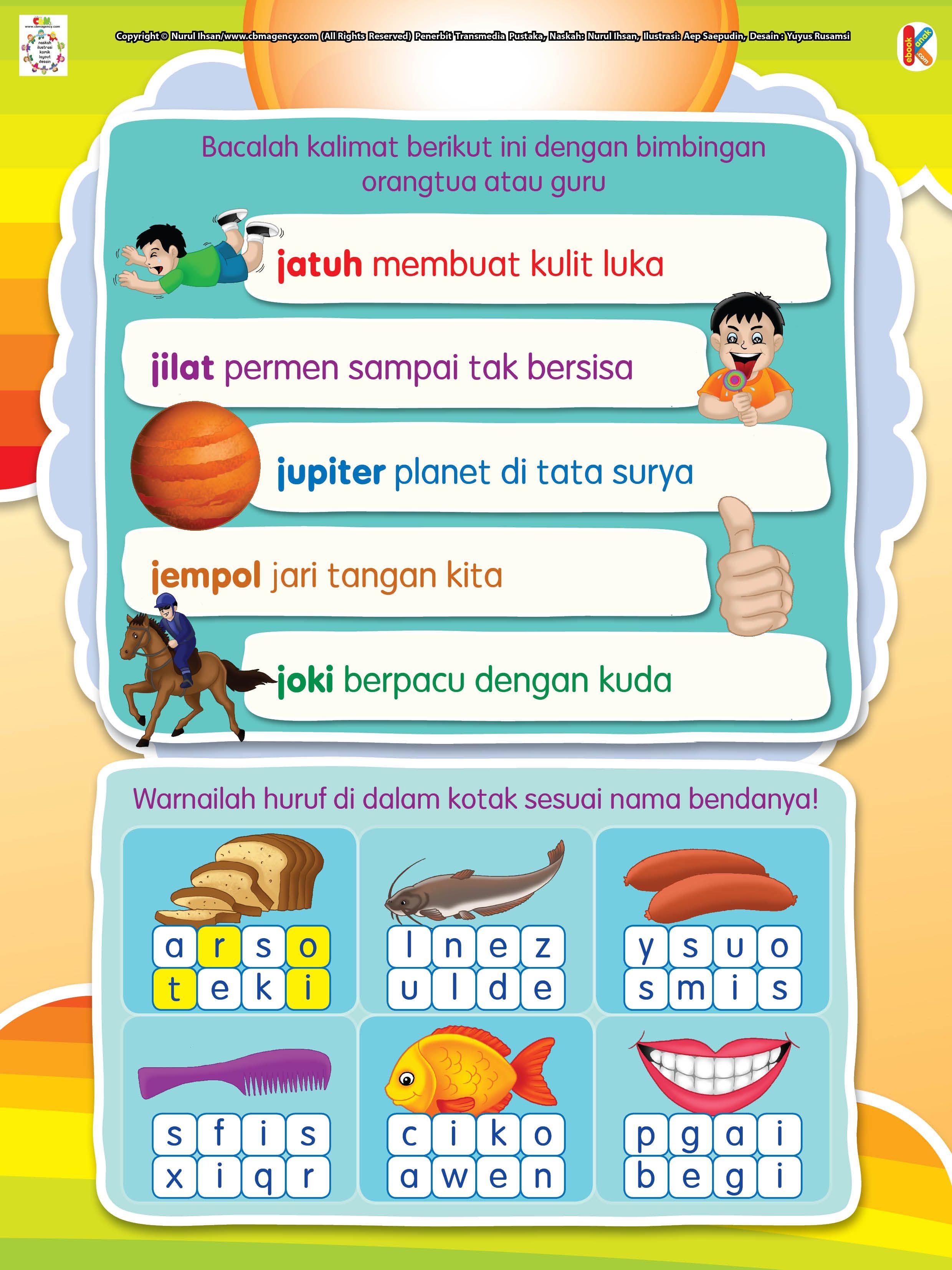 Belajar Membaca Huruf J Dan Mewarnai
