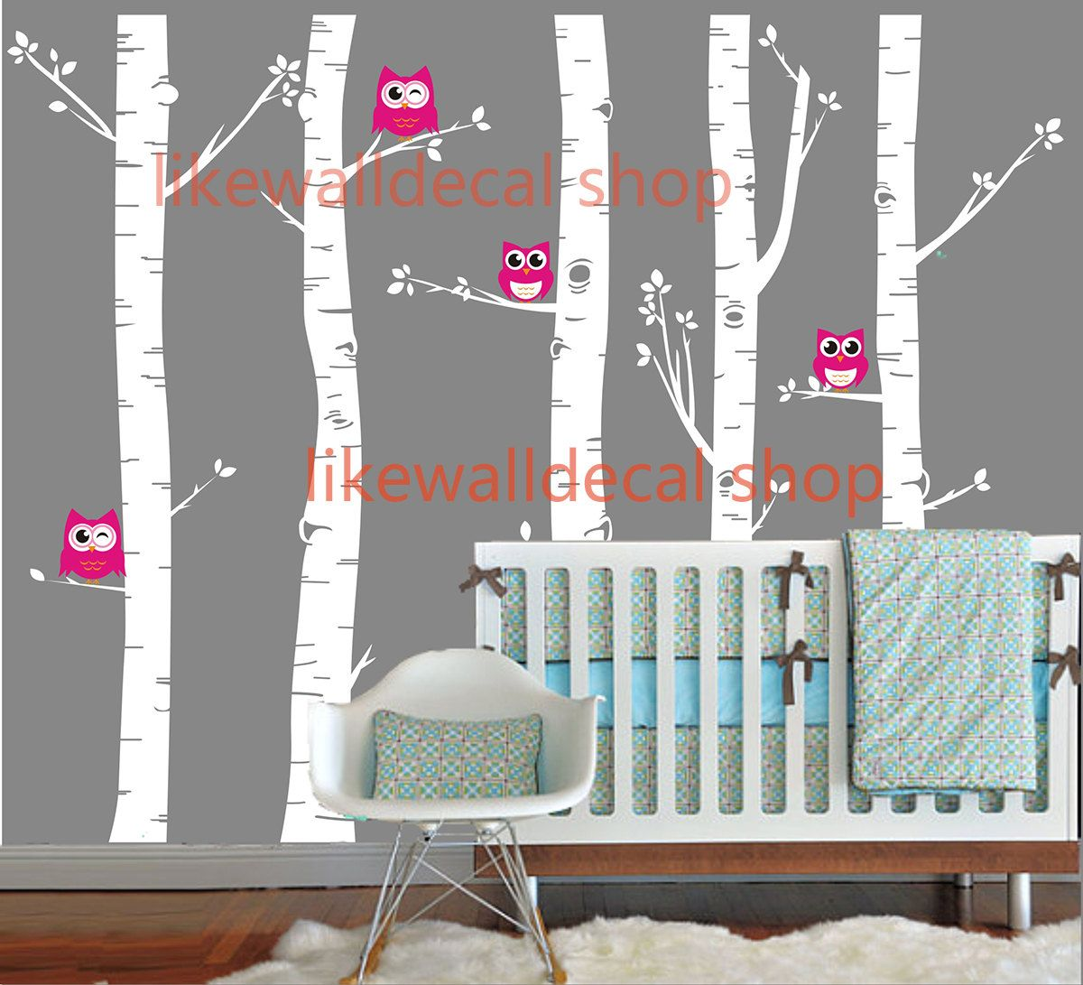 Cute four owl on large five birth trees baby pinterest