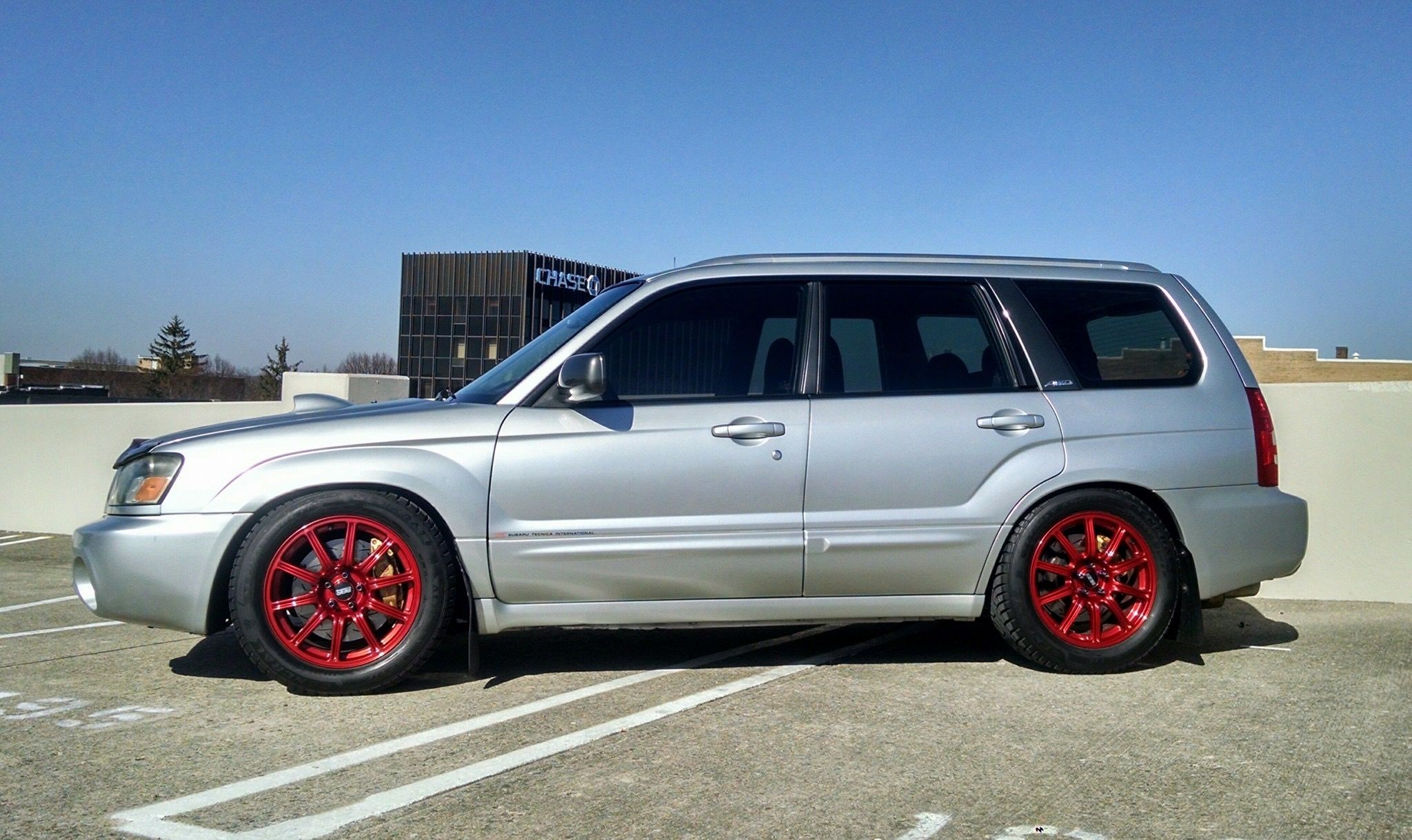 BC Racing coilovers 225/55 tires on 17x7 5 STi BBS   Fozzy