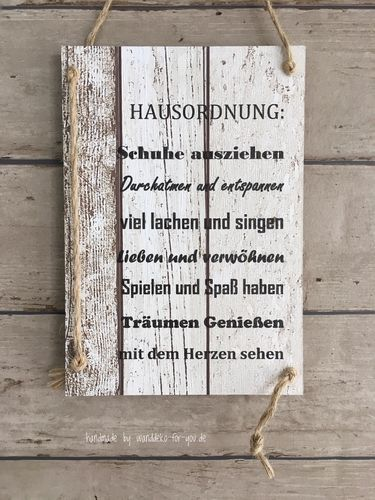 Hausordnung Vintage Spruchtextschild Spruche Holzschilder Vintage Shabby Chic Liebe Familie Dekoration Handmade Schwa Holzschilder Hausordnung Shabby
