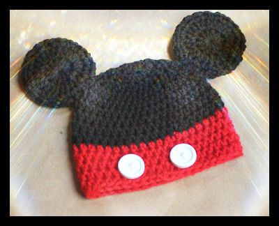 Crochet Mickey Mouse Hat In Blackred With Ears For Baby New Born