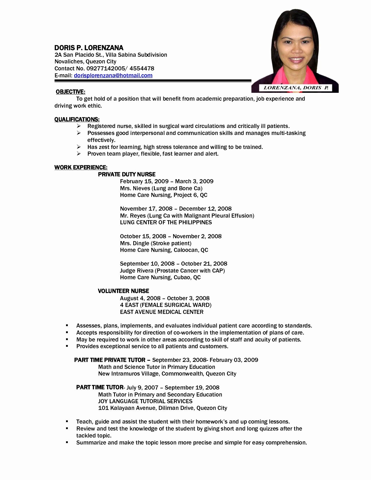 resume sample format for job application best of