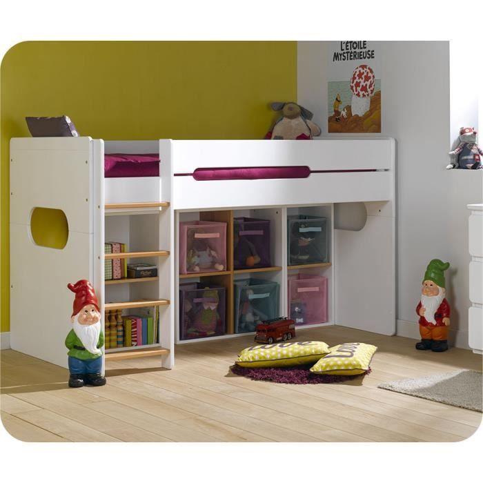 lits superpos s lit enfant mi hauteur spark blanc et h tre. Black Bedroom Furniture Sets. Home Design Ideas