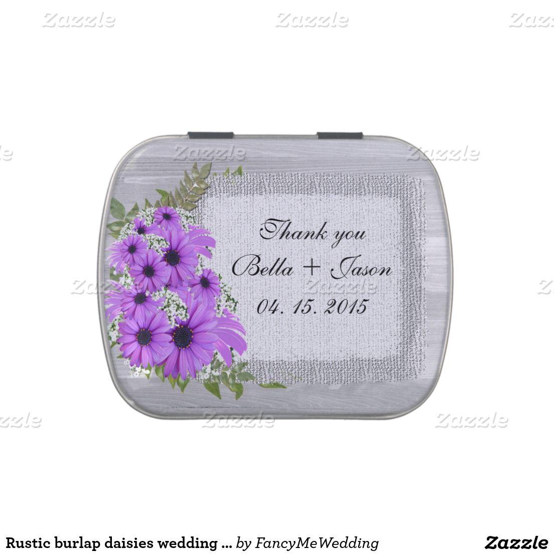 Rustic burlap daisies wedding favors daisy4 candy tin   Bridal ...
