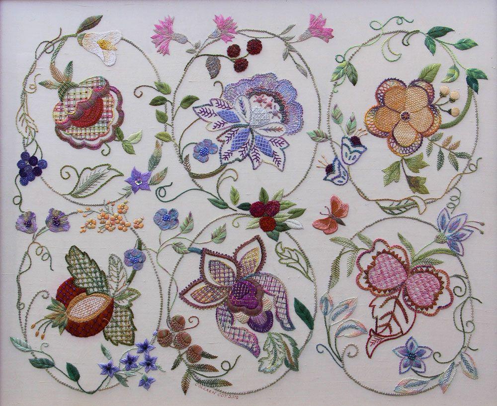 Roseworks design embroidery kits bordados jacobean
